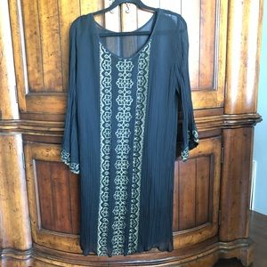 Lucky Brand Gold Embroidered Dress W/ Slip